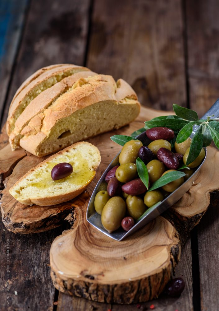 Handmade bread and fresh olives