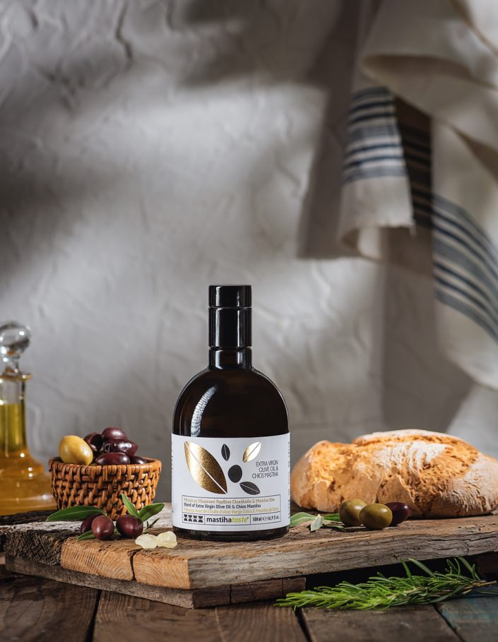 Product shot of bottle with extra virgin olive oil