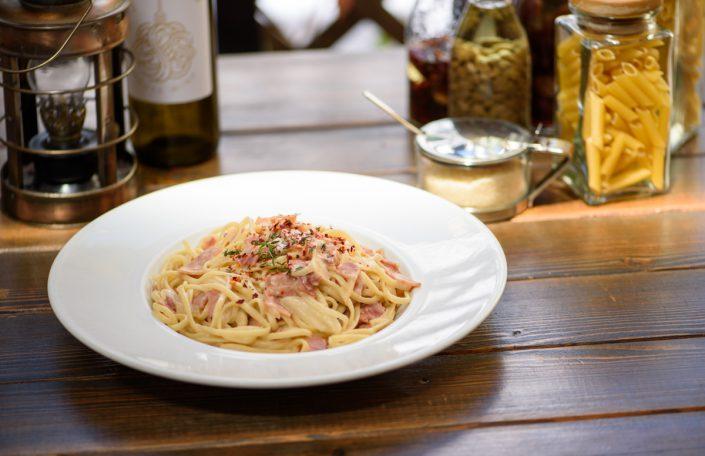 handmade pasta with ham