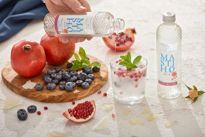 sparkling water with fresh fruit