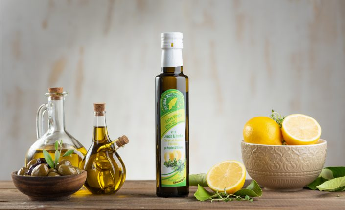 Extra virgin olive oil on wood
