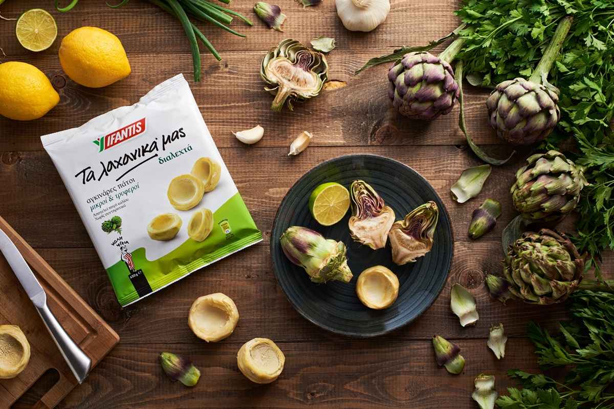 commercial shot with greek artichoke
