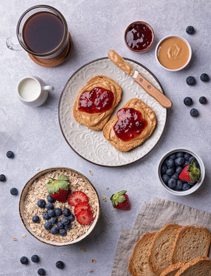 Brunch with peanut butter and blueberries
