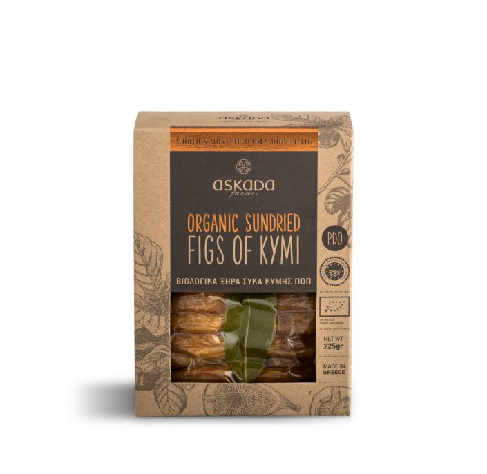 Product shot of organic sundried Greek figs