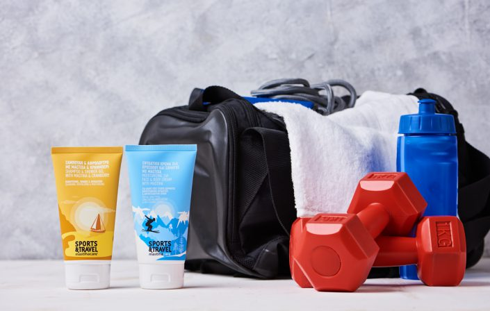 gym bag with shower gel and body cream